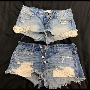 2 pairs Abercrombie denim shorts